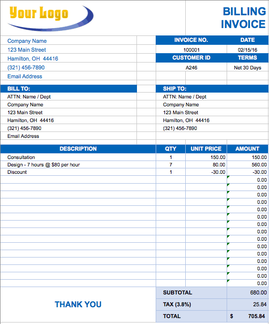 free invoice template in excel Template – Sample of Invoice Template