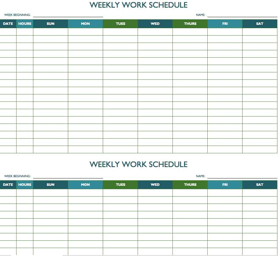 Free weekly schedule templates for excel smartsheet biweekly work schedule template saigontimesfo