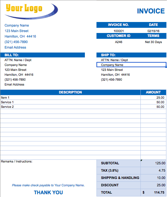 Sandiegolocksmithsus  Splendid Free Excel Invoice Templates  Smartsheet With Outstanding Blank Invoice Template With Awesome Invoice Bill Also Roofing Invoice Template In Addition Blank Printable Invoice And Timesheet Invoice Template As Well As Deluxe Invoices Additionally Commercial Invoice For Customs From Smartsheetcom With Sandiegolocksmithsus  Outstanding Free Excel Invoice Templates  Smartsheet With Awesome Blank Invoice Template And Splendid Invoice Bill Also Roofing Invoice Template In Addition Blank Printable Invoice From Smartsheetcom