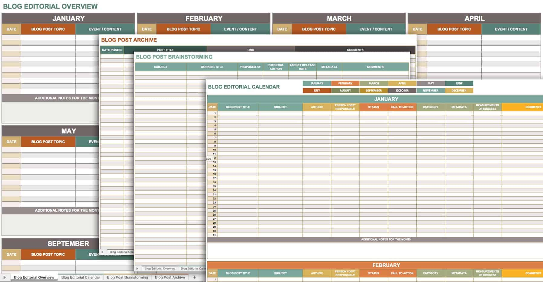 blog editorial calendar template excel