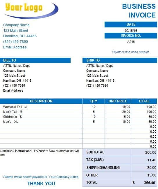 Free Excel Invoice Templates Smartsheet - Law firm invoice template word for service business