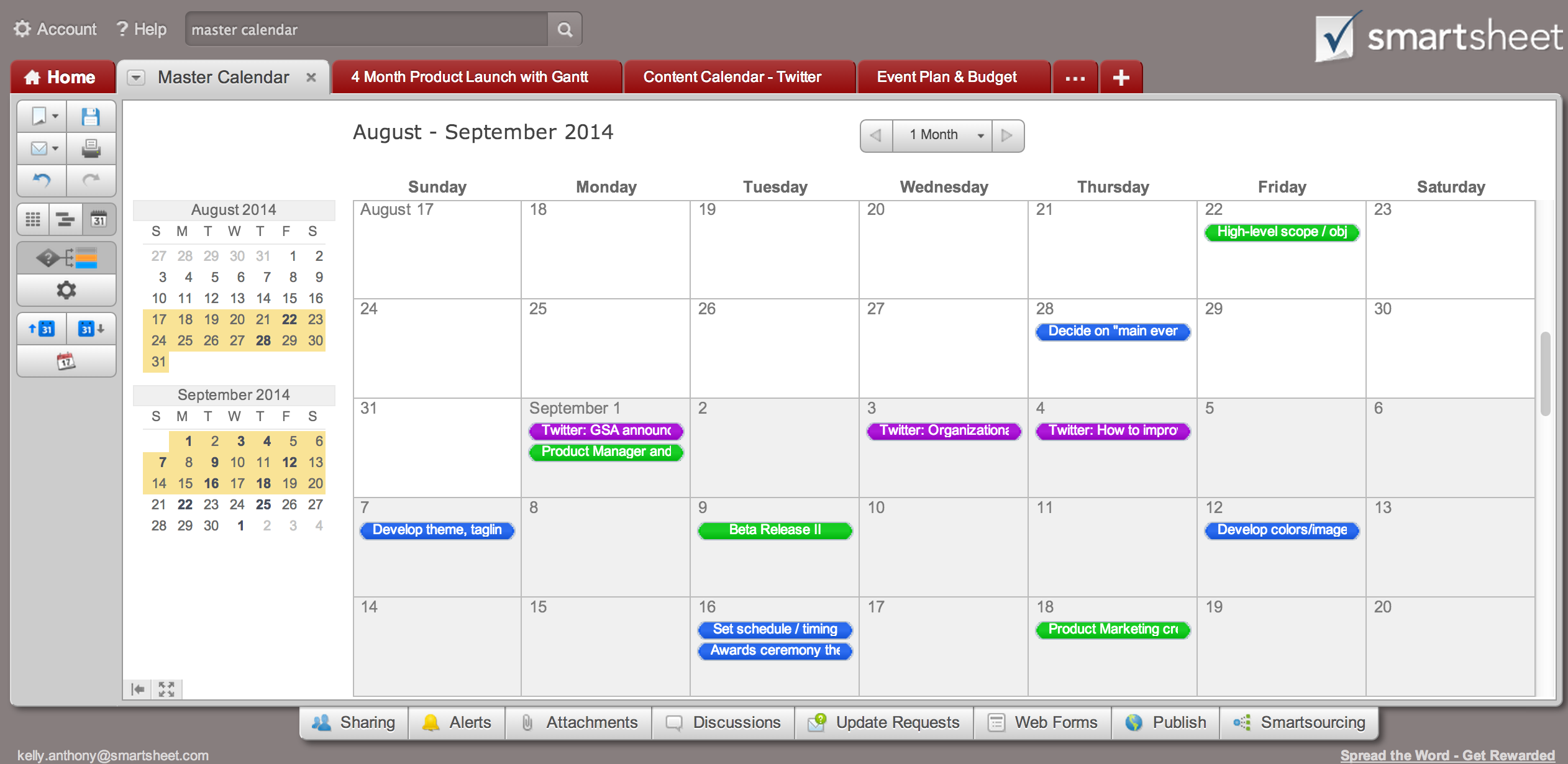 color coded calendar template - tip create a calendar dashboard in 7 quick steps smartsheet