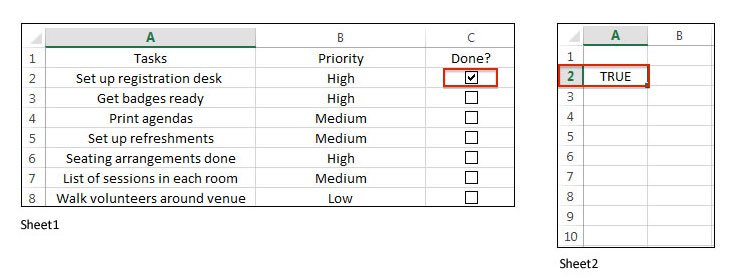 Checkboxes in Excel