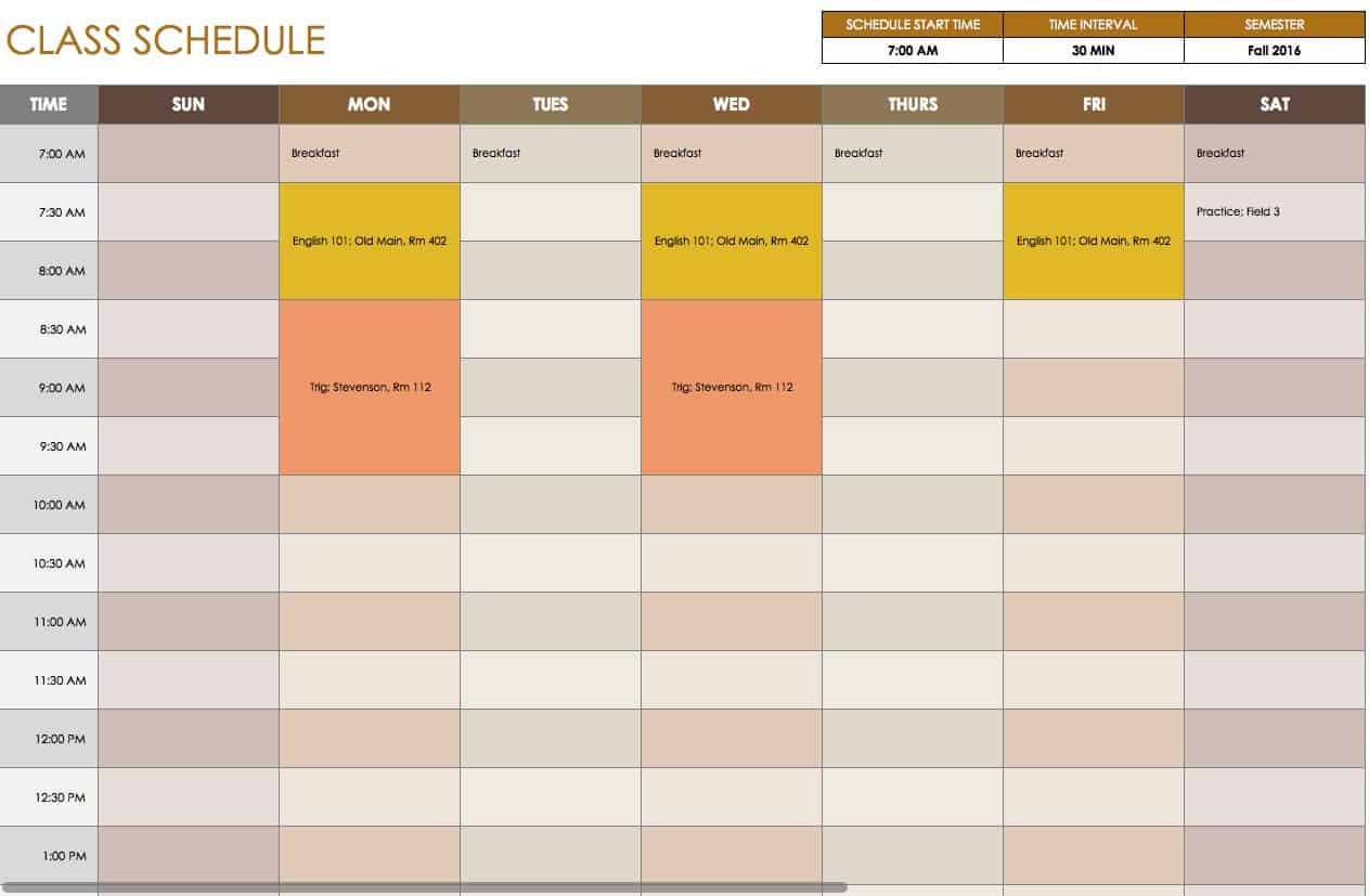 Free daily schedule templates for excel smartsheet for Activity timetable template
