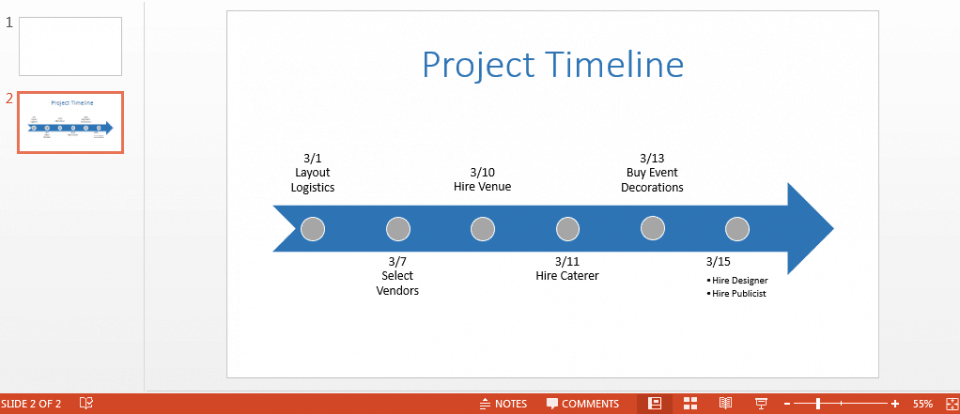 Lovely Colored Timeline In Powerpoint