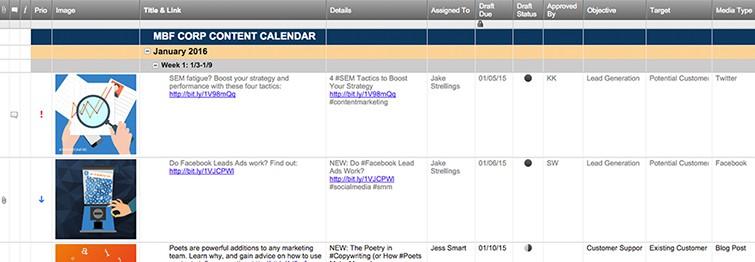 Content Calendar Template Smartsheet