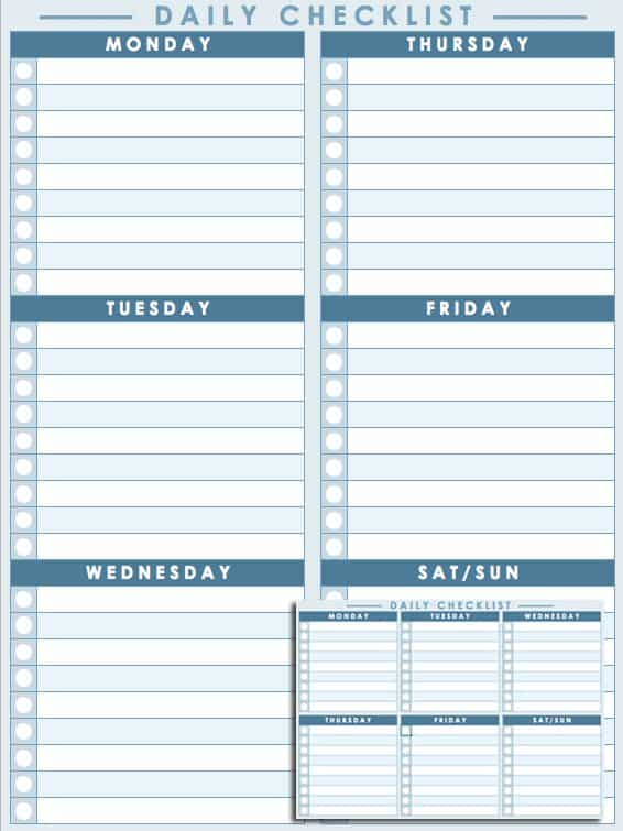 Daily Checklist Template  Day To Day Planner Template Free
