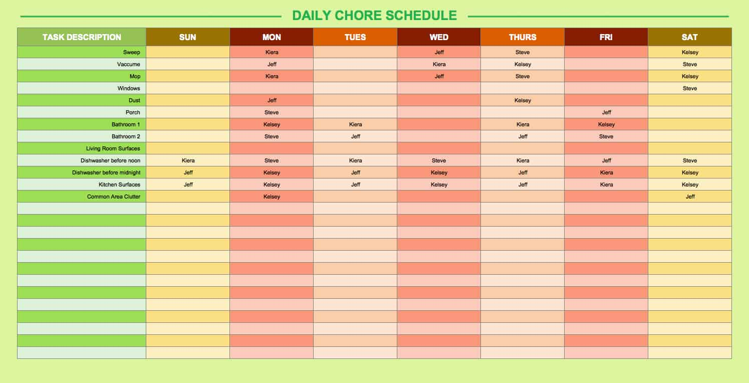 Great Daily Chore Schedule Template Home Design Ideas