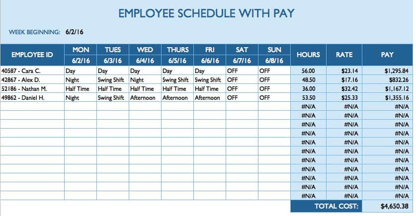 Daily Employee Schedule Template  Daily Scheduler Template