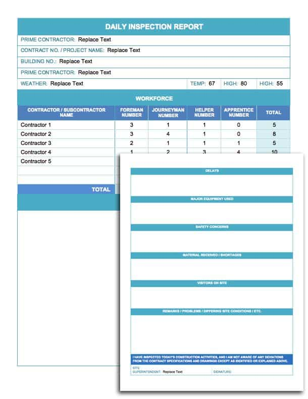 Daily Inspection Report Template  Daily Planner Template Word