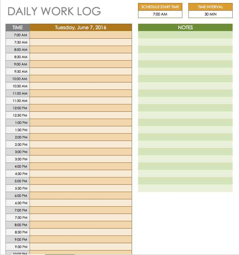 Free daily schedule templates for excel smartsheet for Daily work tracker template