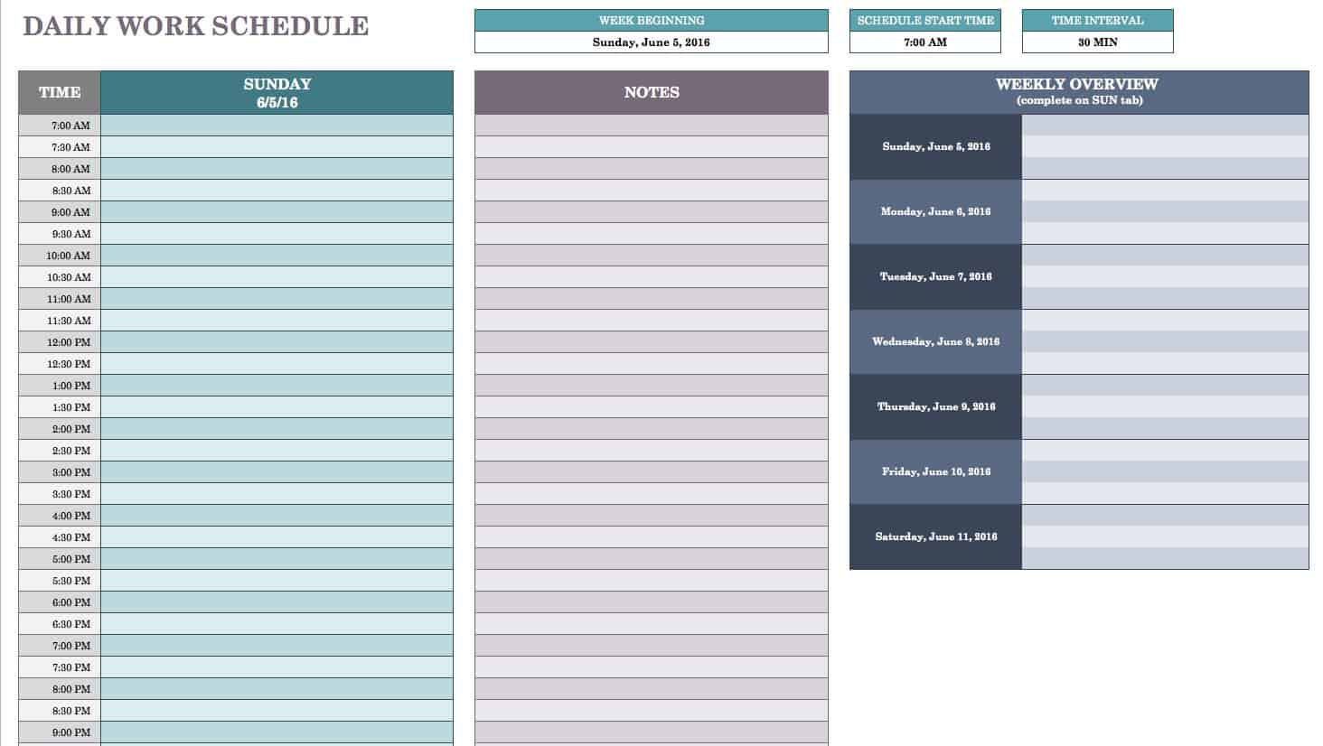 Free daily schedule templates for excel smartsheet daily work schedule template alramifo Image collections