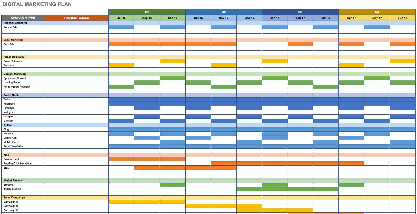 Free marketing plan templates for excel smartsheet for Strategic planning calendar template