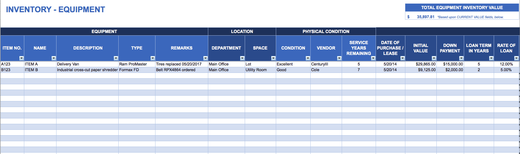 Equipment Inventory Template  Office Inventory Spreadsheet