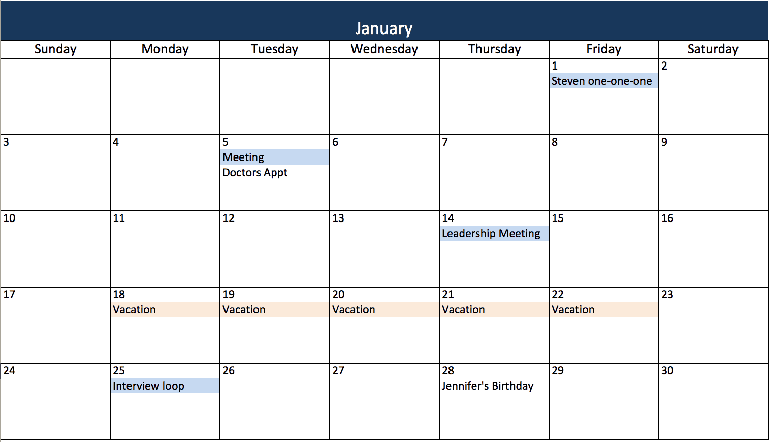 12 Month Calendar Template Excel