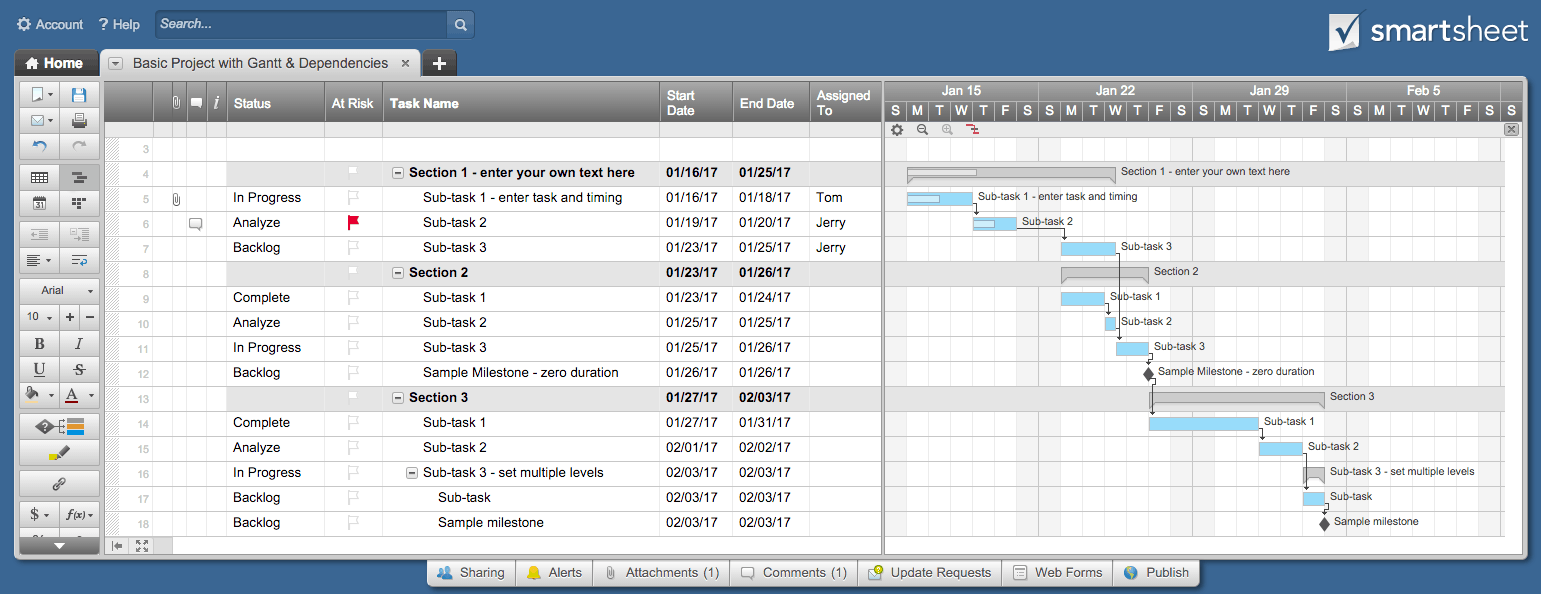 Free excel project management templates gantt chart project smartsheet nvjuhfo Images