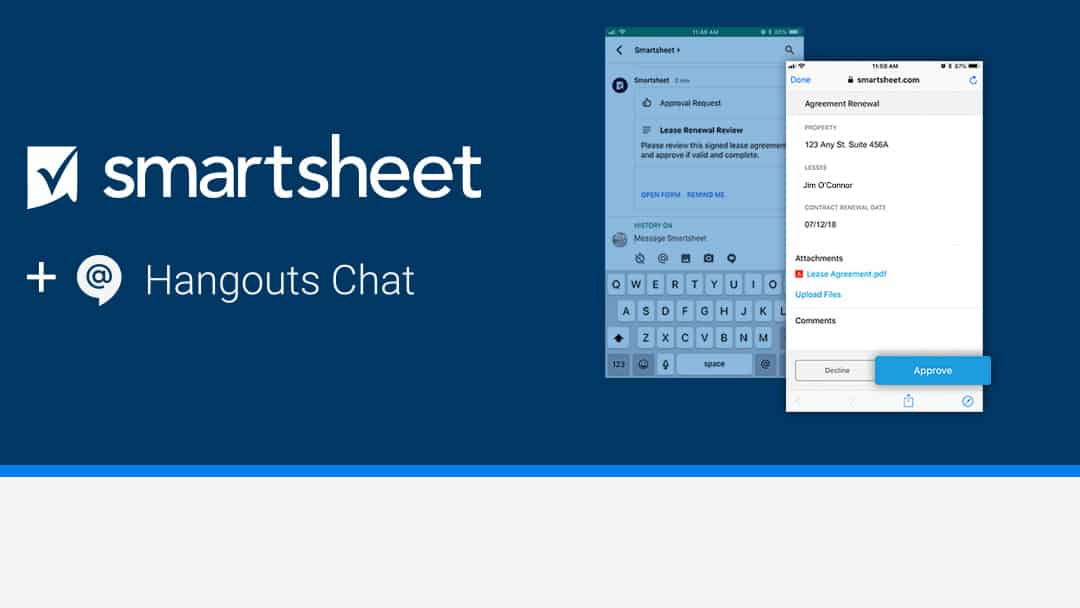 Smartsheet for Google's Hangouts Chat