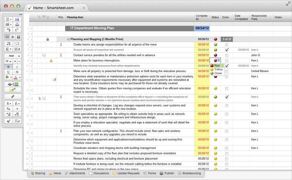 Screenshot of Smartsheet template for IT Office Relocation Planning.