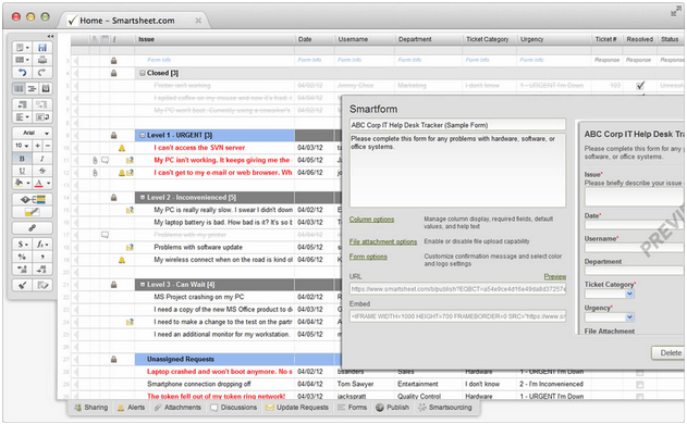 Web forms feed your smartsheet with content smartsheet for Microsoft access help desk template