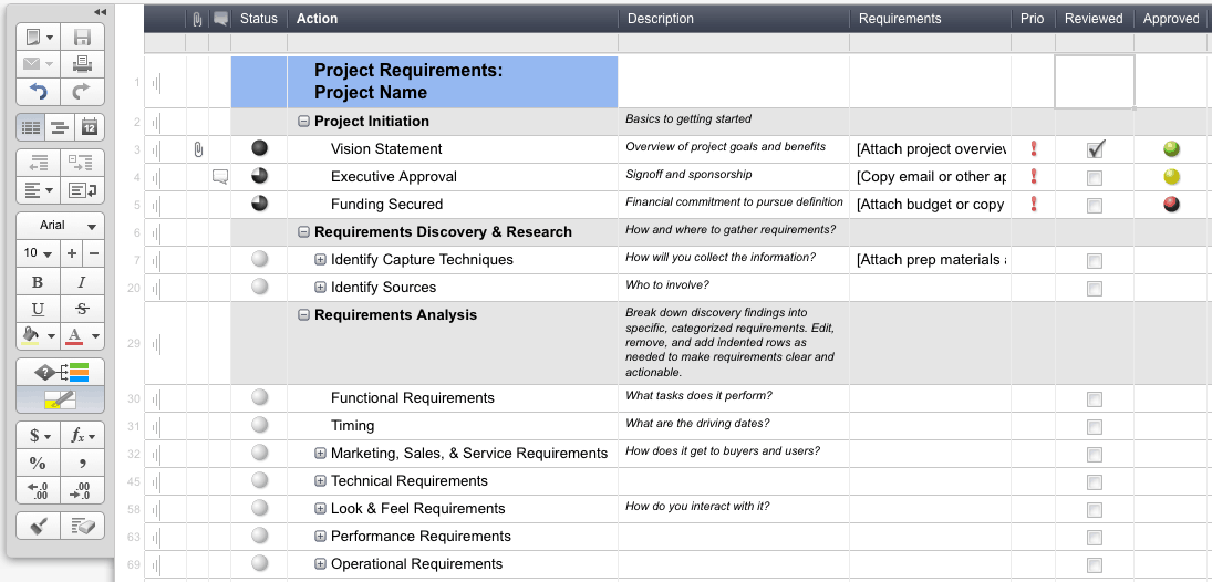 Guest post gathering good requirements smartsheet image 2 smartsheet offers a pre built template for gathering requirements to help users hit the ground running wajeb