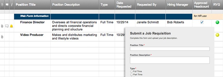 Internal Job Requisition Form | Smartsheet