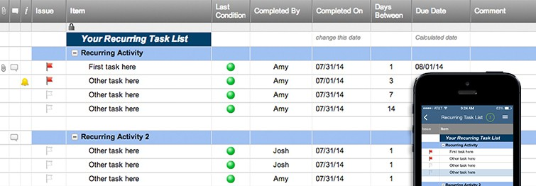 recurring task list template smartsheet