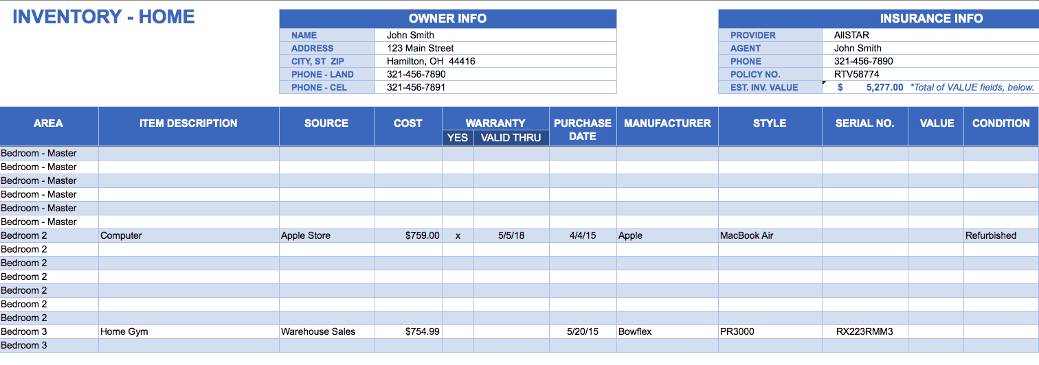 Home Inventory Template In Excel  Inventory Worksheet Template