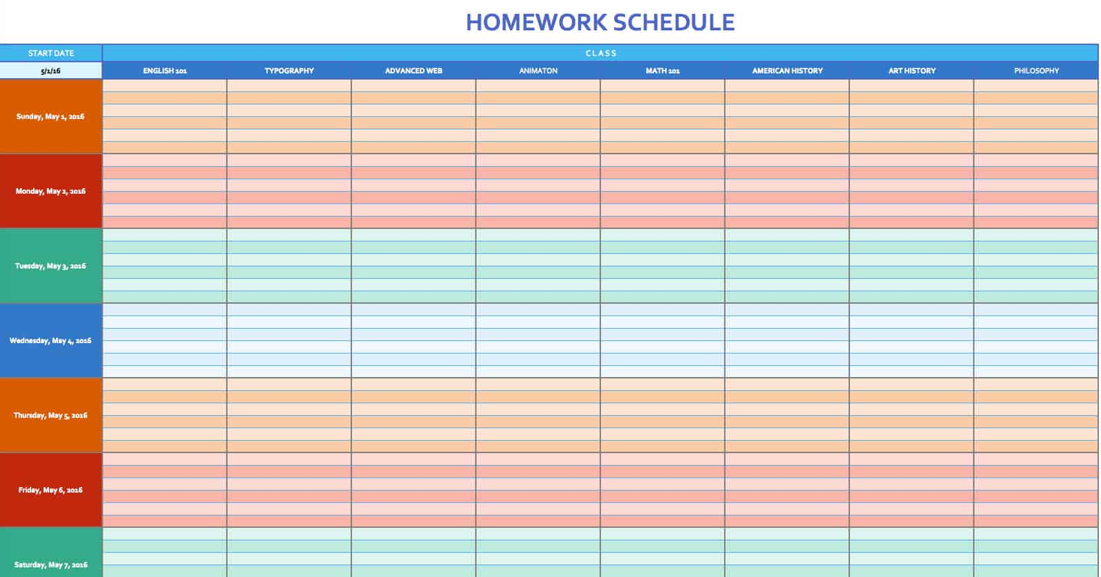 Free weekly schedule templates for excel smartsheet homework schedule template alramifo Images