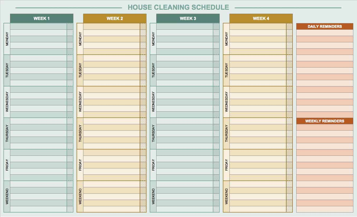 Free Daily Schedule Templates for Excel Smartsheet – Sample Cleaning Schedule Template