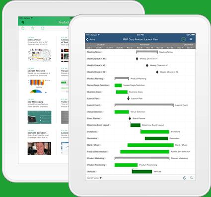 Evernote and Smartsheet on iPad