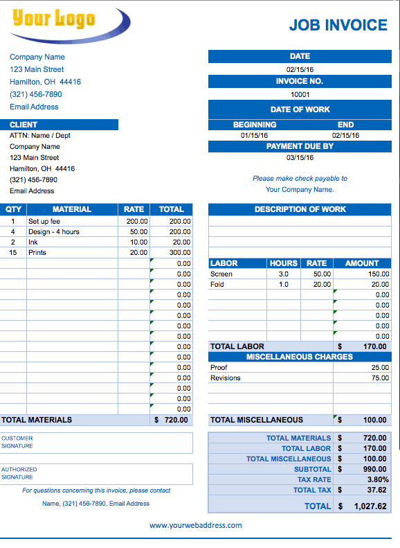 Job Invoice Template.png  Invoice Template On Excel