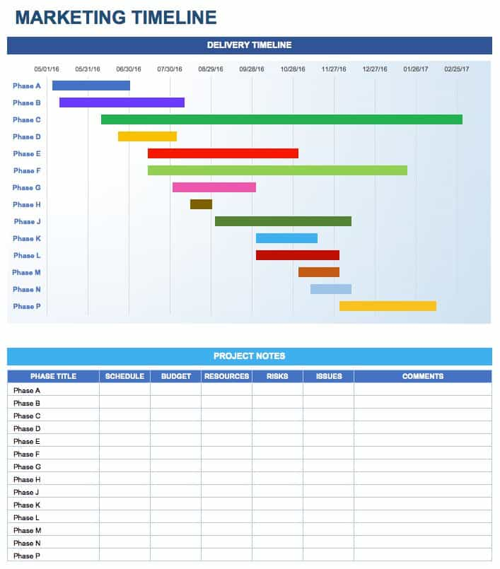 Timeline Sample In Excel Calendar Timeline Project Schedule