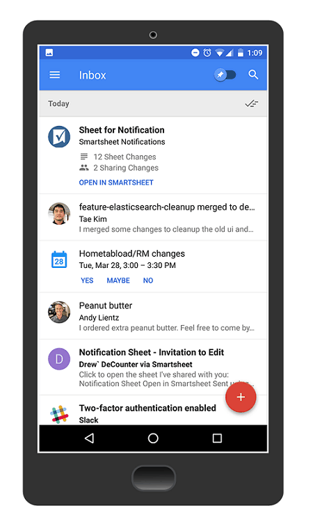 Smartsheet in Google Inbox