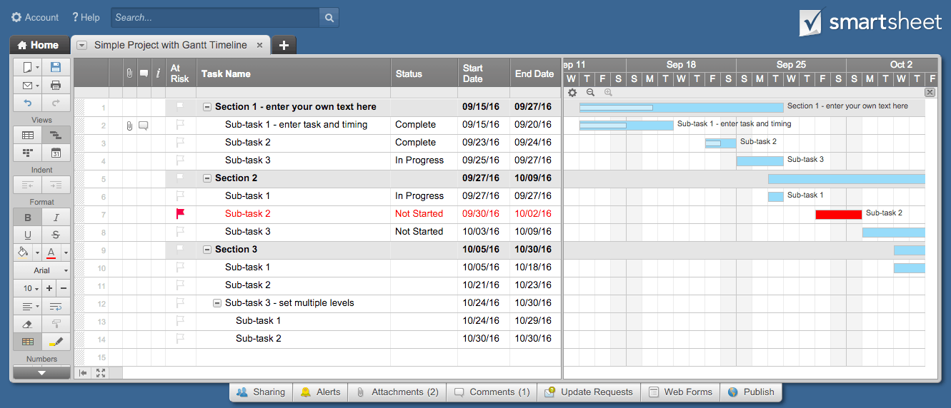 Smartsheet Project Plan Template