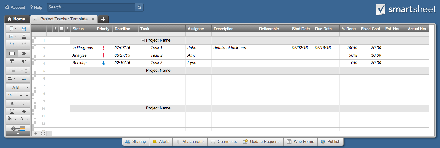 Project Tracker Template Smartsheet