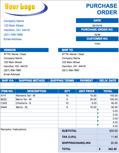 Free Excel Invoice Templates Smartsheet – Format of a Purchase Order