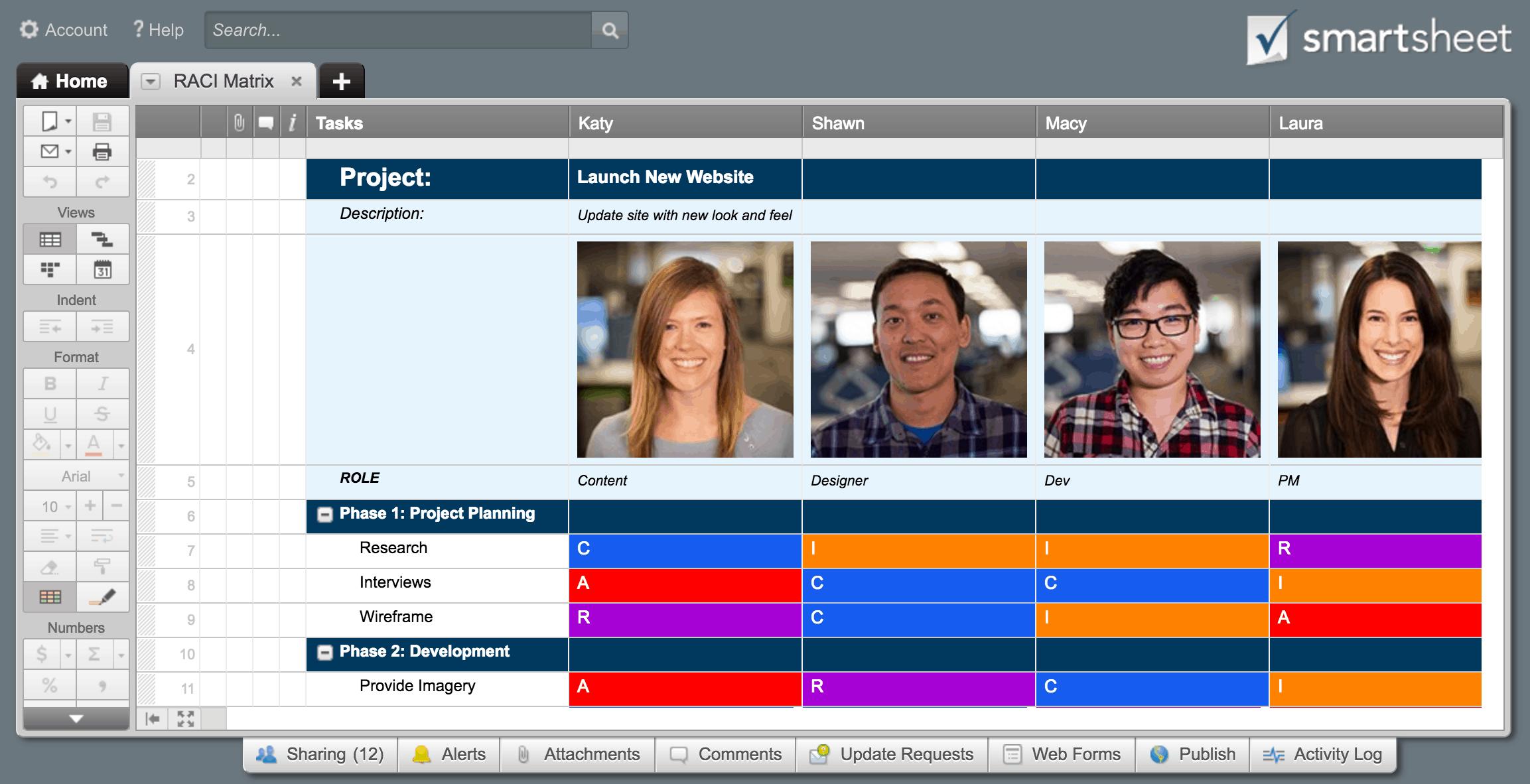 raci matrix smartsheet template