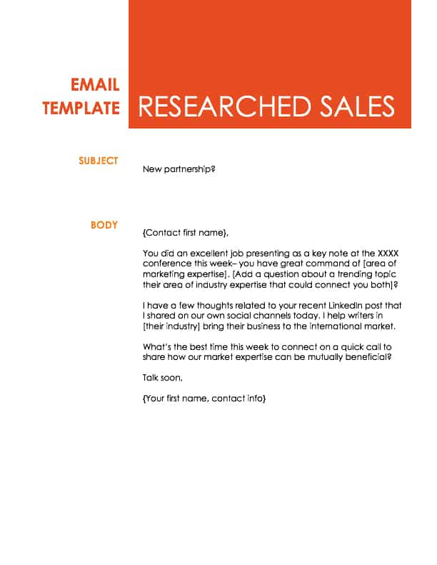 Good Researched Sales Email Template