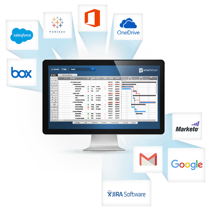 Корпоративное решениеот Smartsheet предусматривает широкие возможности интеграции с популярными приложениями, повышающими эффективность работы.