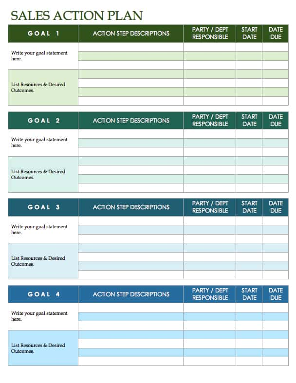 Free sales plan templates smartsheet for Sales manager action plan template