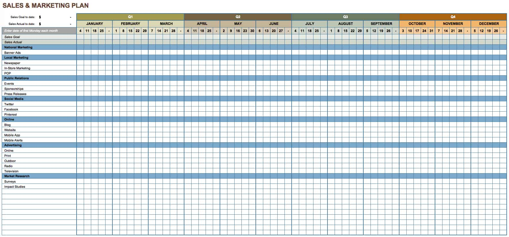 Free Marketing Plan Templates For Excel Smartsheet - Marketing plan timeline template excel