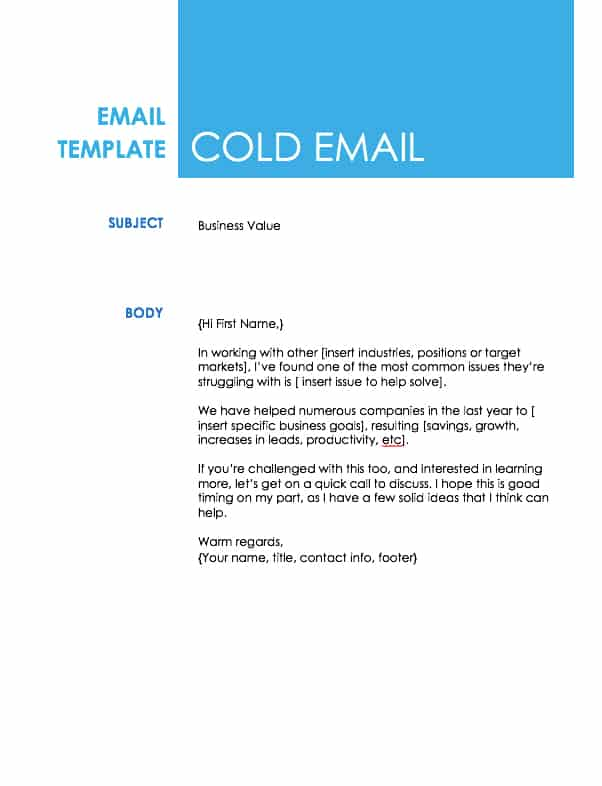 High Quality Sales Cold Email Template