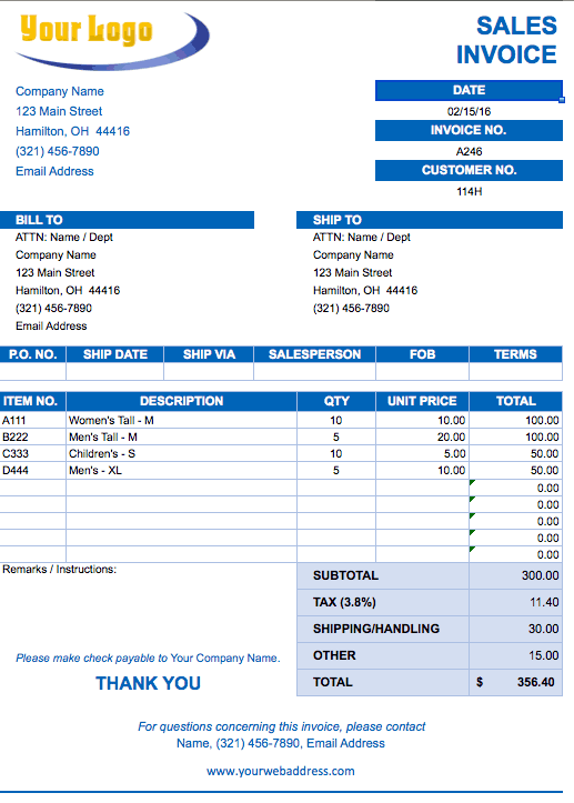 sample excel invoice