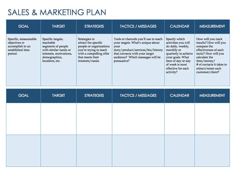 Free sales plan templates smartsheet for Sales and marketing plan template free download