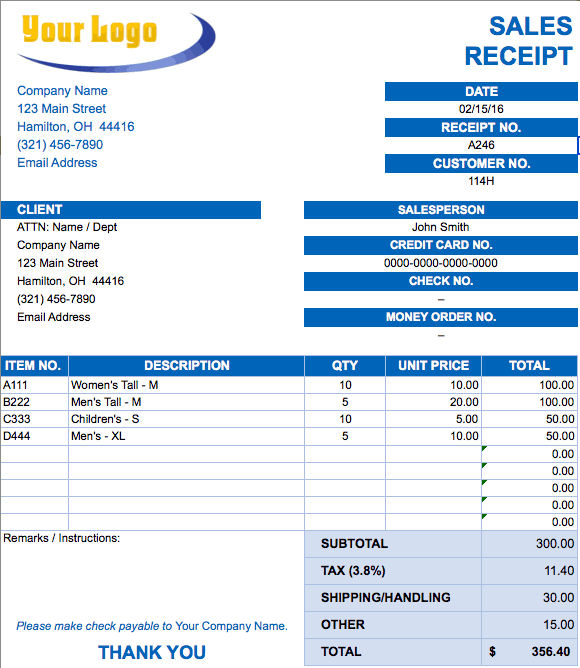 Sales Receipt Invoice Template.png  Invoice Templates For Excel