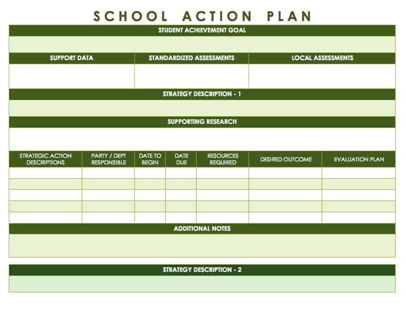 School Action Plan  Action Plans Templates