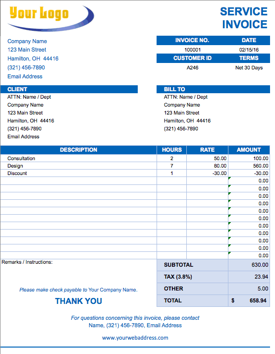 Free Excel Invoice Templates Smartsheet - Ms word custom invoice template for service business