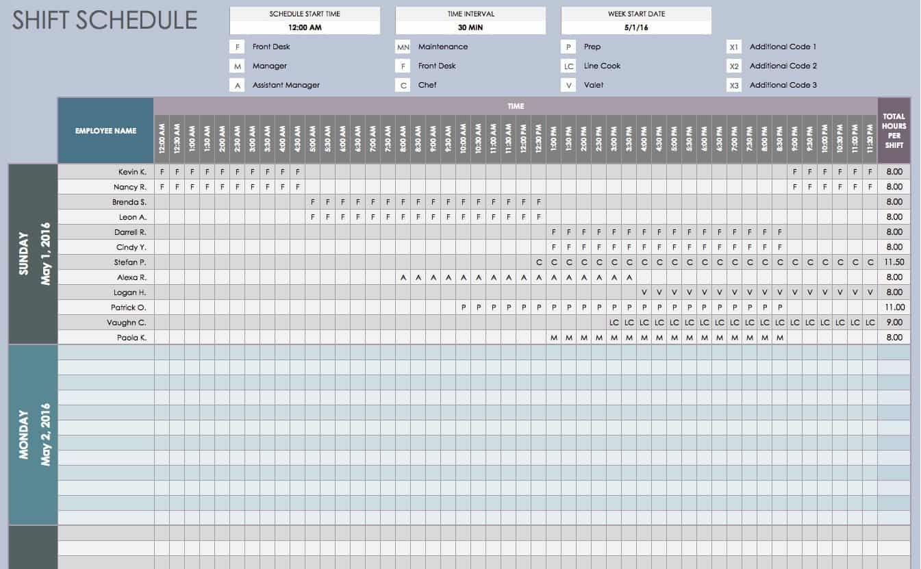 Free daily schedule templates for excel smartsheet for 3 shift schedule template