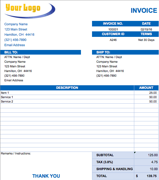 Free Excel Invoice Templates Smartsheet – Free Invoices Download
