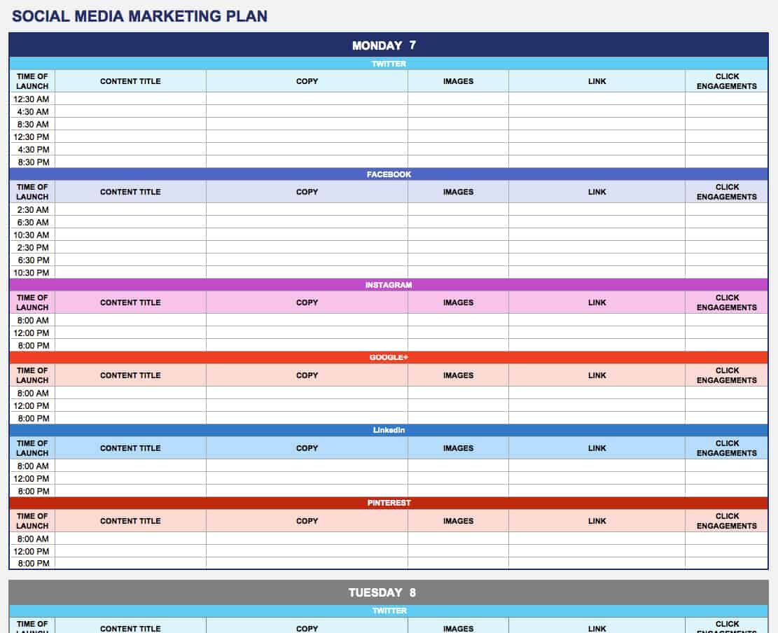 Free marketing plan templates for excel smartsheet for Social media posting calendar template